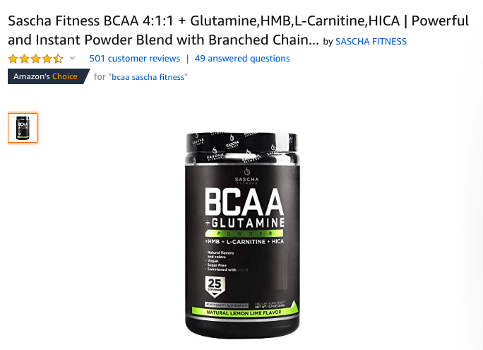 Sascha Fitness BCAA- The Most Bang For Your Buck